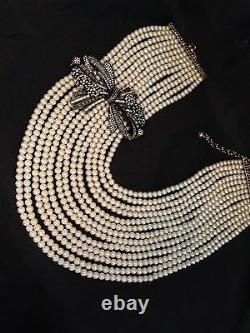 HEIDI DAUS BEST IN BOWS 13 Strands of Pearls Necklace