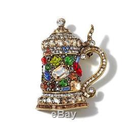 HEIDI DAUS Crystal Beer Stein Pin Brooch Fine Stein Beautiful & colorful (DS)