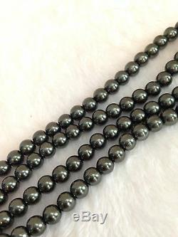 HEIDI DAUS Dark Gray Hemetite Pearl Drop Swavorski Crystal Necklace