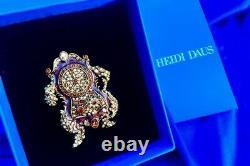 HEIDI DAUS Disney Beauty and the Beast Cogsworth Crystal and Enamel Pin NWB