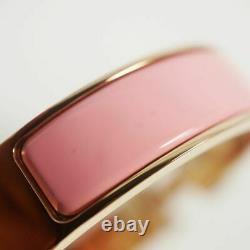 HERMES Authentic Clic Clac PM H Bracelet Bangle Pink Enamel Palladium Gold-tone