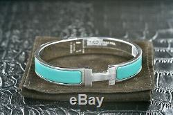 HERMES Clic Clac Bangle Bracelet Light Blue & Steel Leather/Metal