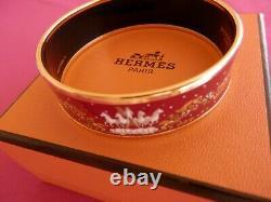 HERMES Gold Tone Vibrant Red Wide Printed Enamel Bangle Bracelet GORGEOUS