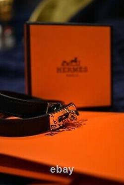 HERMES Kelly Double Tour Bracelet Bangle Swift Leather Black