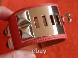 HERMES Medor Collier De Chien Leather Bangle Bracelet Rose Jaipur GP Adj. $1,200