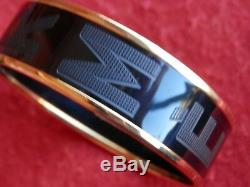 HERMÈS SellierBlack Grey Gold Tone Enamel Printed Wide Bangle Bracelet Sz 62