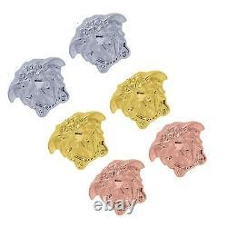 Head Earrings Womens Yellow Gold Rhodium Plated Ear Stud Gift