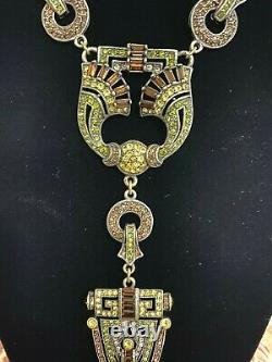 Heidi Daus Art Deco Single Strand Crystal Accented Necklace BEAUTIFUL LONG PC
