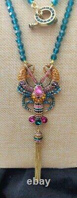 Heidi Daus Lobster Tail Beaded Crystal Tassel Necklace Beautiful
