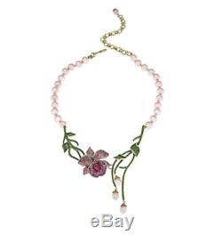 Heidi Daus Mandalay BeautyOrchid Beaded Crystal Drop Necklace matching earring
