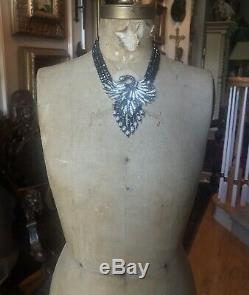 Heidi Daus Multi-strand Black Hematite Bead Necklace, Swan, Graceful Beauty