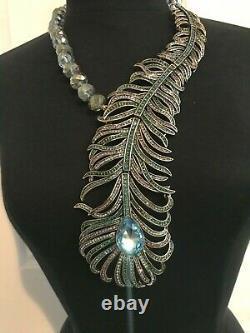 Heidi Daus NEW Pretty As A Peacock Crystal AB Aqua Necklace BEAUTIFUL ELEGANCE