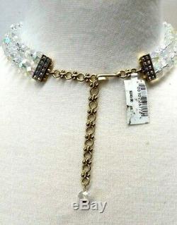 Heidi Daus Pave Crystal Rose Drop Necklace NWT