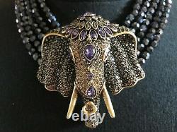 Heidi Daus Sheik Chic Elephant Head Drop Necklace HEMATITE BEAD SWAROVSKI BEAUTY
