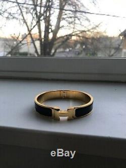 Hermes Authentic Women Black Enamel Clic Clac H Bracelet GOLD