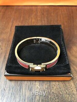 Hermes Beautiful Rare Corail Enamel Narrow Rose Gold Clic Clac H Bracelet PM