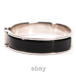 Hermes Black & Silver Clic Clac Bracelet Bangle Cuff H Logo