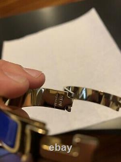 Hermes Clic Clac H Bracelet Blue and Gold