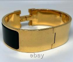 Hermes Enamel Black Wide Clic Clac H Bracelet