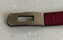 Hermes Kelly Double Tour Leather Pink Kelly Bracelet 100% Authentic