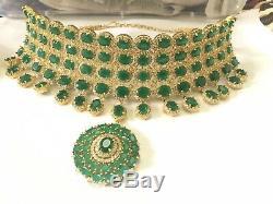 High quality kundan Meenakari Pearl Drops Choker Bridal Indian jewelry set