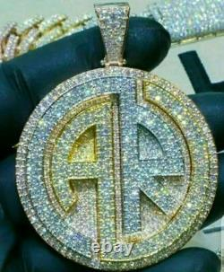 Hip Hop Unique Style Pendant iced out Round Diamond custom pendant 14K Gold Over