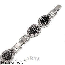 Holy Beauty Nano Jewelry Onyx Topaz 925 Sterling Silver Choker Necklace 15-16'