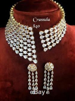 Indian Bollywood Designer White CZ AD Wedding Silver Choker Jewelry Necklace Set
