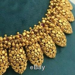 Indian Gold Tone Matt Finish Statement Necklace Set Ethnic Tribal Jewelry