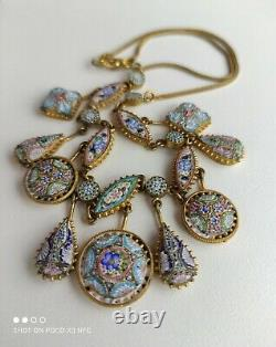 Italy Micro Mosaic Glass ESTATE BEAUTIFUL ANTIQUE NECKLACE