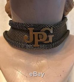 JEAN PAUL GAULTIER Bronzetone Goldtone JPG Signature CHOKER Necklace, SMALL