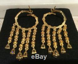 Judith Ripka 14k Gold Clad 925 Sterling Silver Drop Hoop Earrings 2 Inches Long