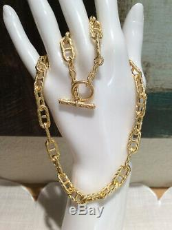 Judith Ripka 14k Gold Clad Silver Braided Texture Link Toggle Necklace with Pouch