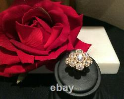 Judith Ripka 14k Gold Clad Sterling Silver 9 Flowers Ring with Rope Motif Size 6