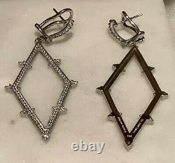 Judith Ripka 14k Gold Clad or 925 Silver Geometric Shaped Drop Earrings with CZs