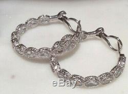 Judith Ripka 925 Silver Hoop Inside/ Out Earrings with Oval Bezel Set CZ's 32 mm