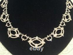 Judith Ripka 925 Sterling Silver & CZ Lattice Lace Statement Necklace 19 inches