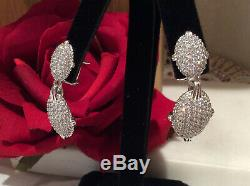 Judith Ripka 925 Sterling Silver Pave' CZ Drop Dangle Earrings with Omega Backs