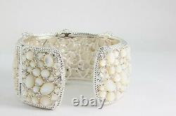 Judith Ripka CZ Mother of Pearl Wide-Hinged 6.5 Sterling Silver Bracelet FS