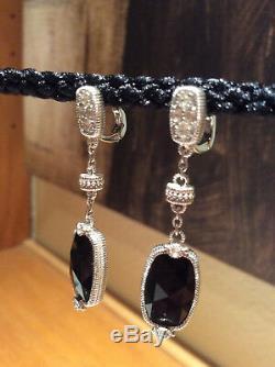 Judith Ripka Gold Coast Elongated Black Onyx & White Topaz Dangle Earrings