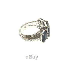 Judith Ripka Sterling Silver Blue Sapphire CZ 3 Stone Ring size 6