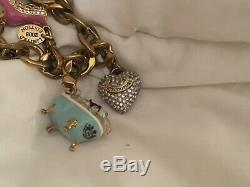 Juicy Couture Charm Bracelet Rare Bathtub Dog, Iceskate, Hearts, J, Mask