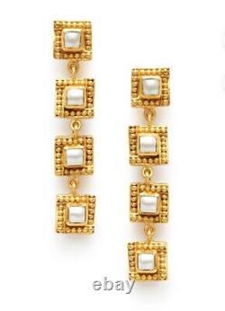 Julie Vos Isabel Tier 24k Gold Plate Pearl Dangle Earrings