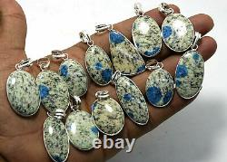 K2 Blue Azurite Gemstone 20Pcs Wholesale Lot 925 Sterling Silver Plated Pendant