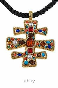 Kenneth Jay Lane KJL Byzantine Beauty 18 Drop Cross Religious Necklace