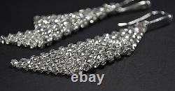 LOPEZ Stunning Earrings Crystals from Swarovski MESH 8cm