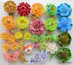 LOT of 80 Vintage METAL enamel FLOWER Pin earrings Beautiful SPRING FLING colr