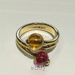 Lalique Ring Colored Round Crystal Beads Designed Ring with Box â Size 8.5