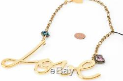 Lanvin gold metal script love crystal stone chain collar necklace NEW $895