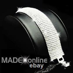 Large Silver Statement Bracelet, Wide Diamante Bling, 12 Lines of Rhinestone